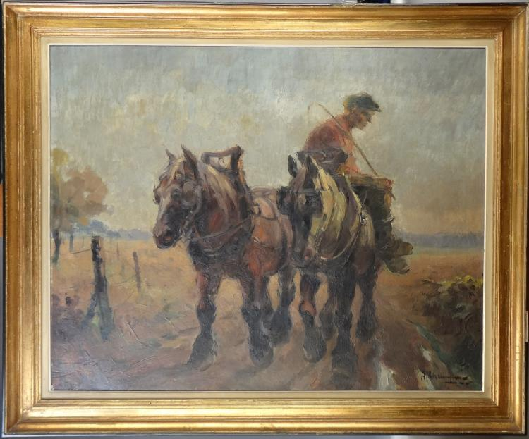 Painting oil on canvas - Return of fields - signed Chavepeyer Albert