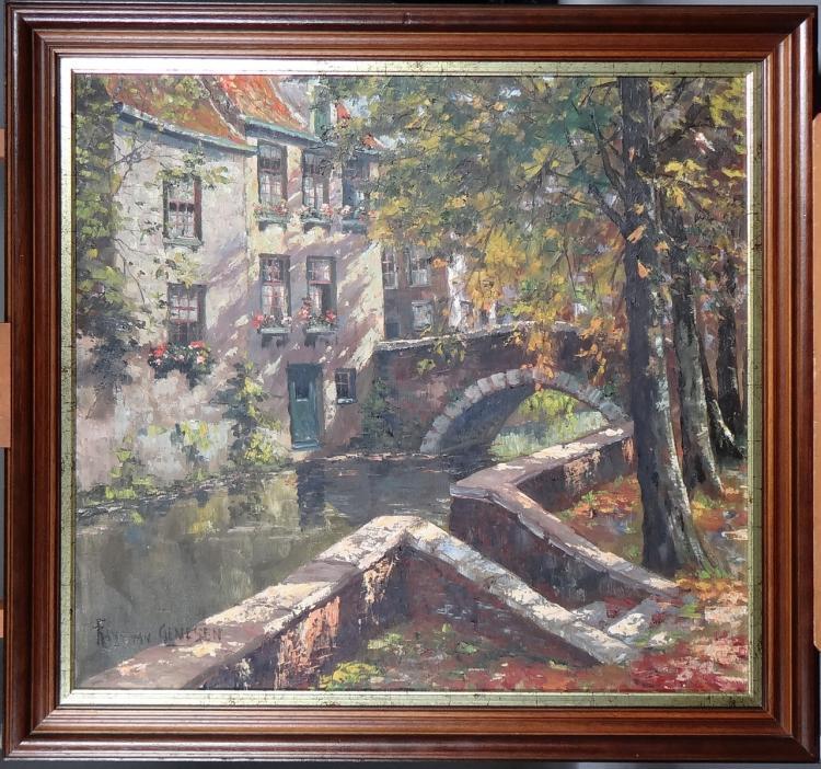 Painting oil on canvas - Beguinage Bruges - signed Frans VAN GENESEN
