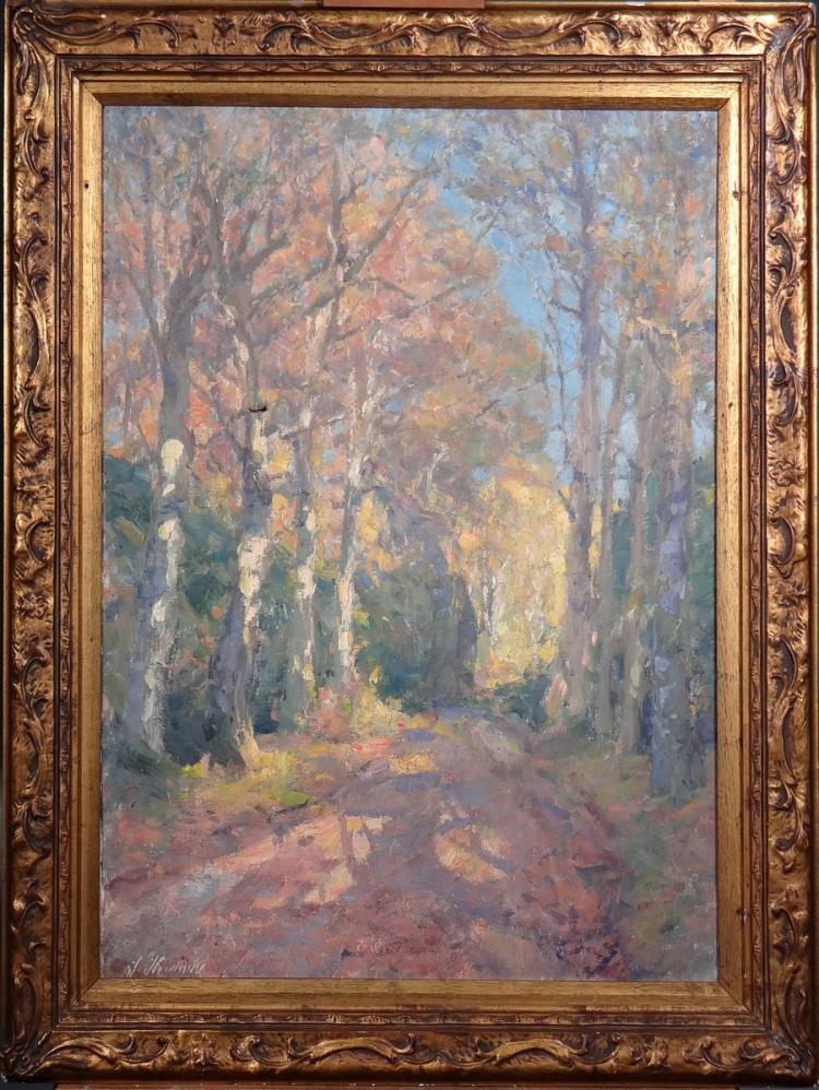 Painting oil on canvas (little crack) - Wooded Driveway - signed HENDRICKX Jos