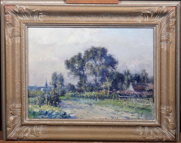 Painting oil on canvas - The vegetable garden Edeghem - signed Louis Van Engelen