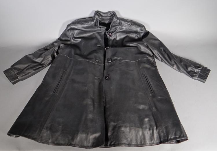 Fashion: black leather coat lined mink