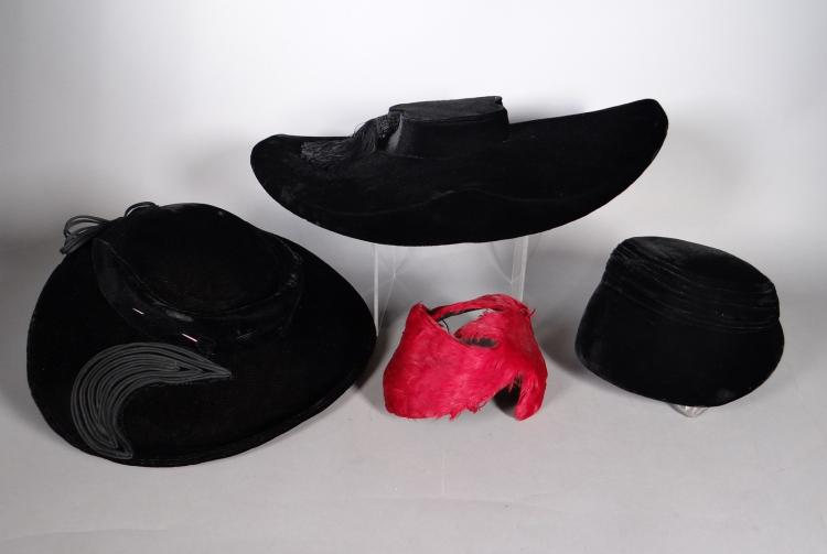 Fashion: 3 black velvet hats and 1 with feather