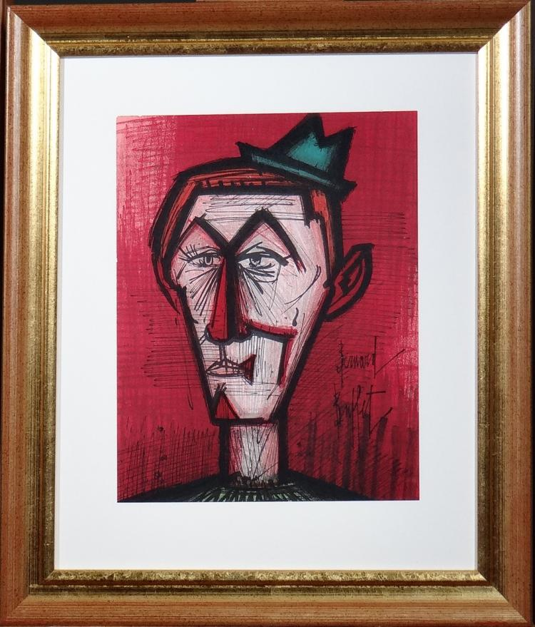 Engraving: Lithograph in colors - Clown on red background - Bernard BUFFET