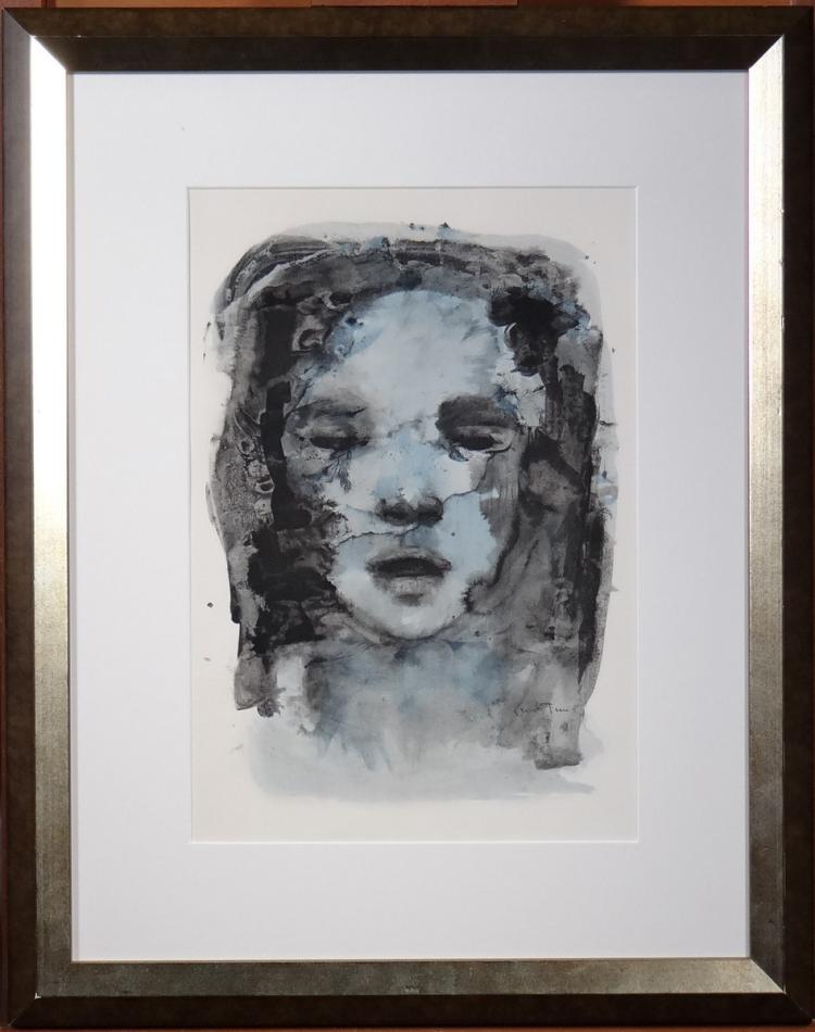 Engraving: color lithography - Face - Leonor Fini