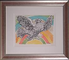 Engraving: Litho colors - Dove of peace flying in the sky in art - Pablo PICASSO