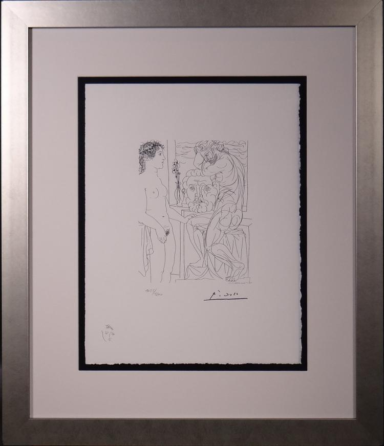 Engraving: Litho series Vollard Suite - The Painter and his Model - Pablo PICASSO