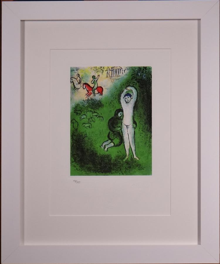 Engraving: Lithograph in colors - Untitled - with Spadem stamp and Marc Chagall