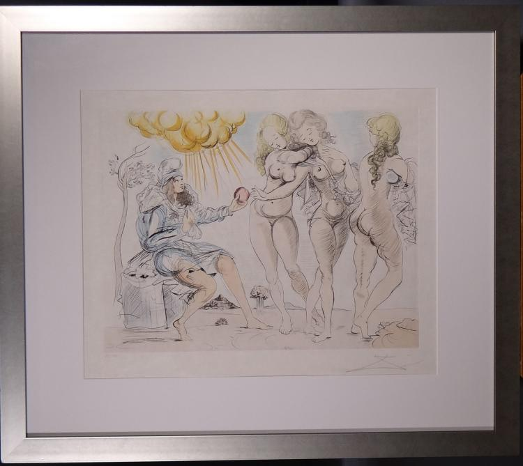 Engraving: Etching colors - The Judgement of Paris - signed Salvador DALI