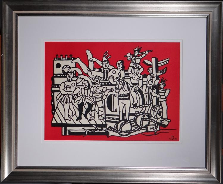 Engraving: Watercolour on paper edition - La Grande Parade on Red Background - Fernand LEGER