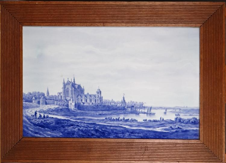 Painted on Delft earthenware - bustling walled city landscape - after VAN JOYEN late 19th - early 20C