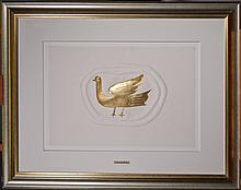 Etching embossed. gilded with gold leaf 23k engraved by Baron Heger of Lowenfeld - Small Heath - tribute to Georges Braque jewelry