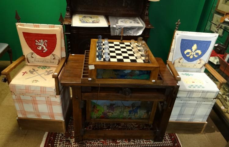 Furniture: wooden and glass  table for chess. 2 wooden chairs and 32 painted glass pieces
