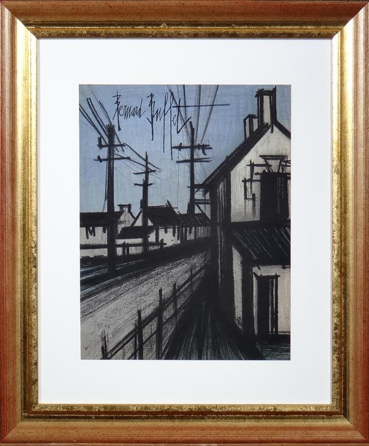 Engraving: color lithography - Village View - Bernard BUFFET