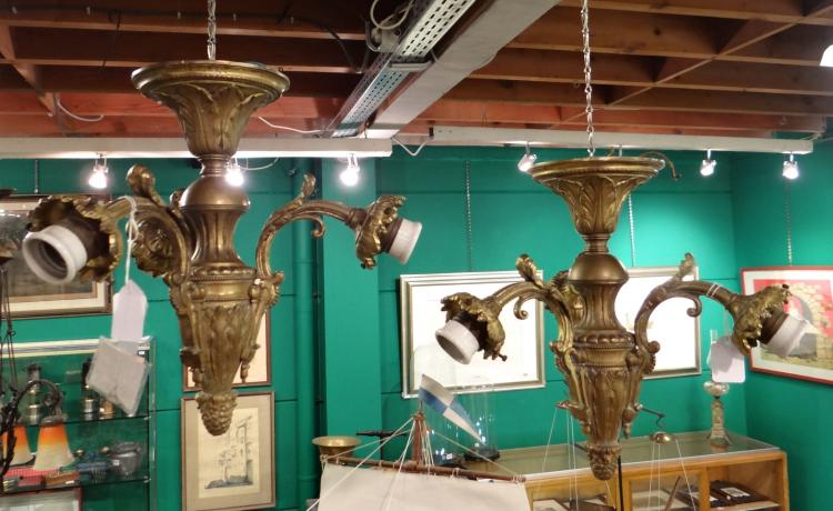 Lighting: Pair of Bronze suspensions late 19th - early 20C