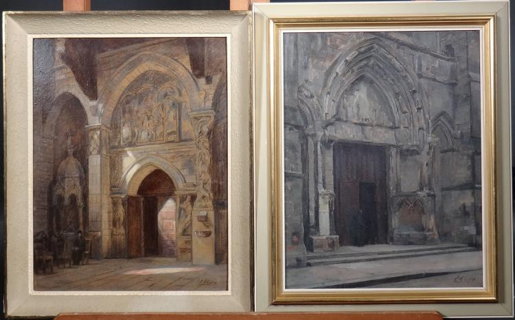 Painting oil on panel - lively church entrance - and - Inside the bustling church Saillac - signed Eugène Edmond Thiery