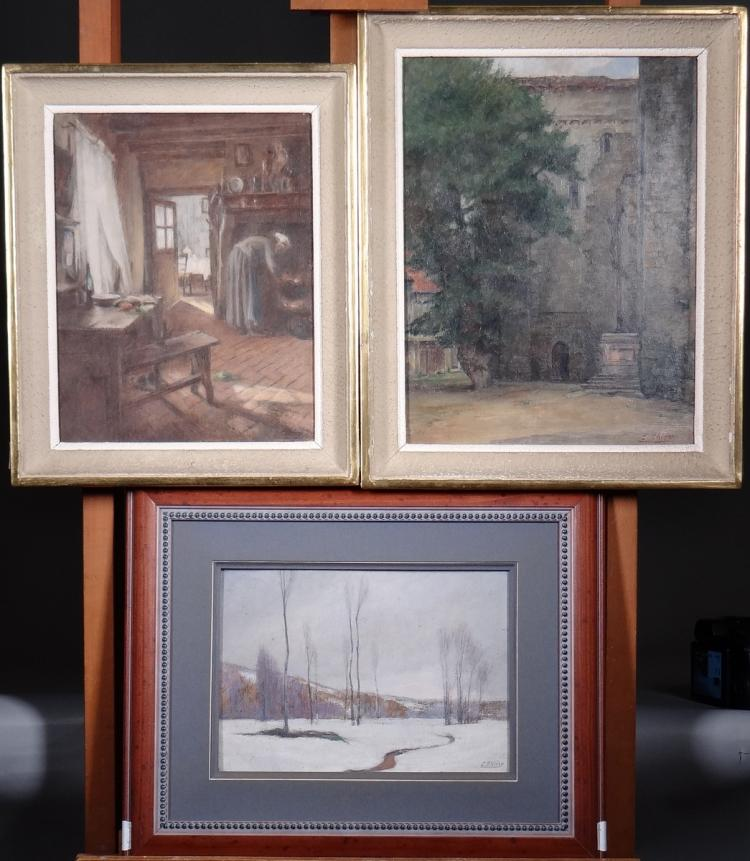Painting oil on panel - Animated interior - - Calvary View - - Winter landscape - signed Eugène Edmond Thiery
