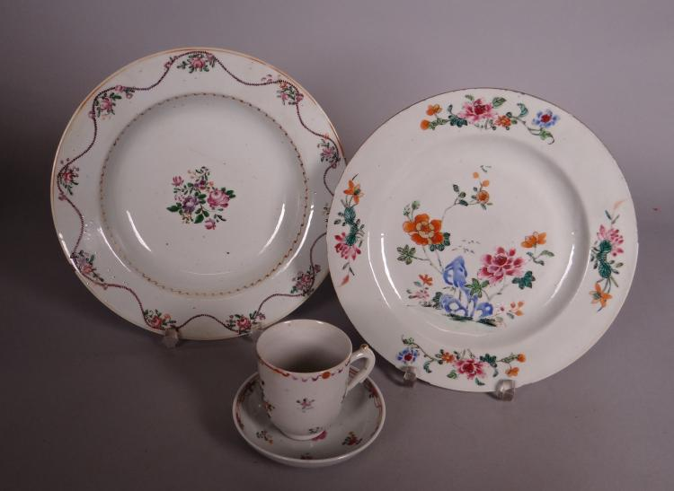 Asian: dinner plate. soup plate. cup in Chinese porcelain Company of Indies 18th