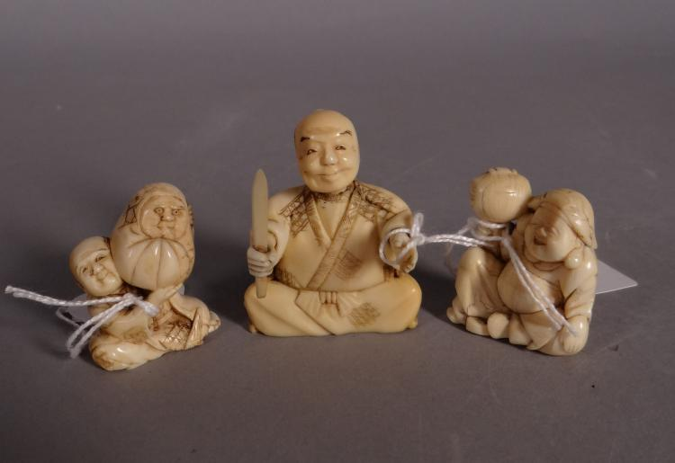 Asian: Chinese ivory -man sitting in lotus- and 2 Chinese netsuke in ivory first half 20C