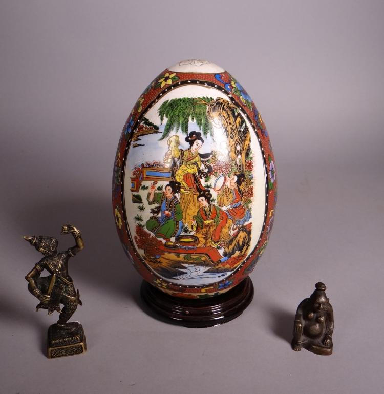 Asian: Japanese Satsuma in earthenware 1st half 20C bronze Thai and erotic bronze