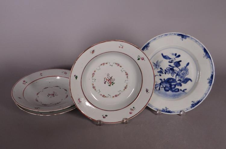 Asian: 3 Chinese porcelain plates 18C Company of India. Chinese porcelain plate 19C
