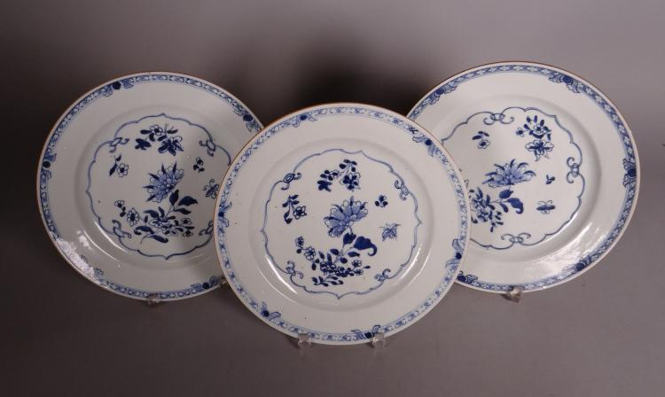Asian: 3 Chinese porcelain plates 18C