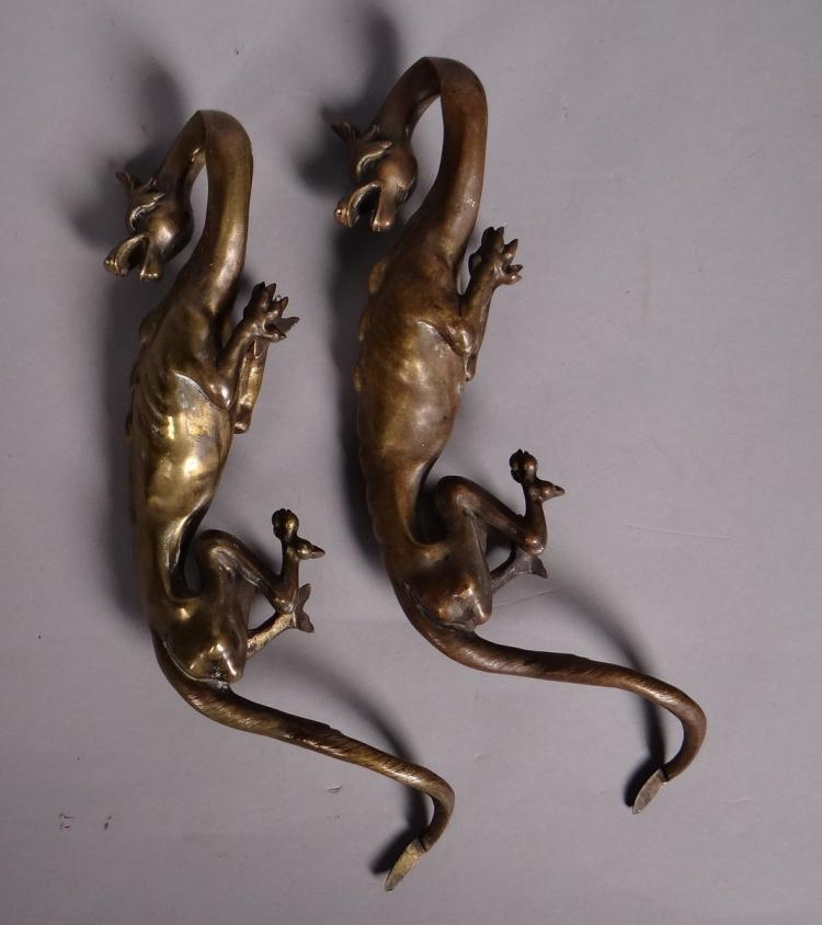 Sculpture: pair of Neo-Gothic bronzes - Dragon - 19C