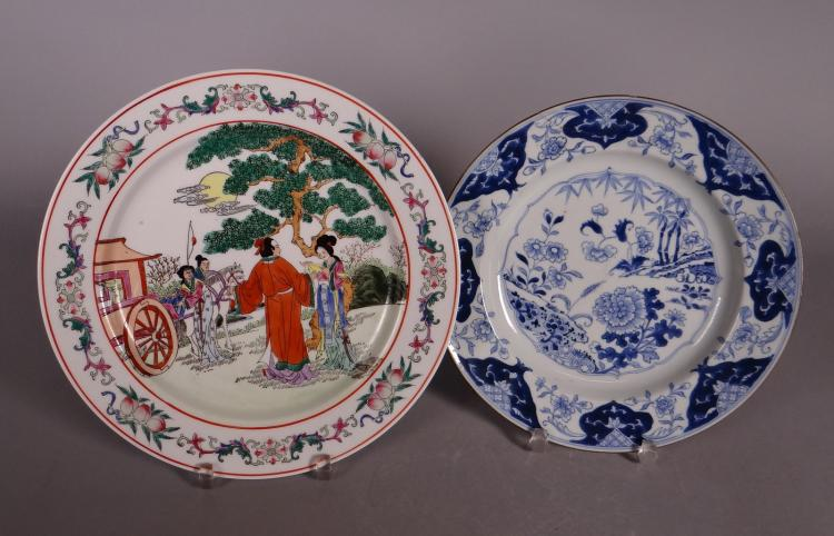 Asian: Chinese porcelain plate 18C and plate porcelain enamel early 20C
