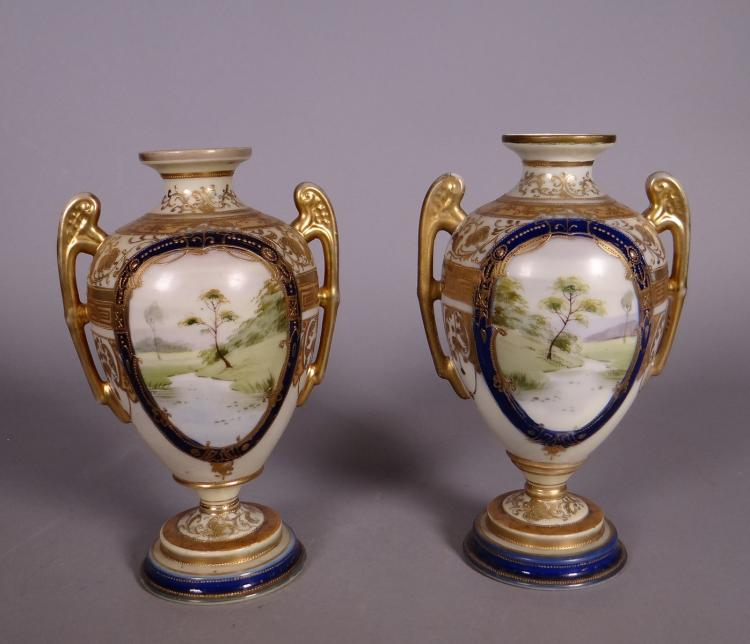 Asian: Pair of porcelain vases in Noritake Japan early 20C