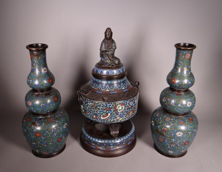 Asian: Chinese cloisonné bronze mantelpiece set: pair of bootle vases and Incense burner -1st half of 20C