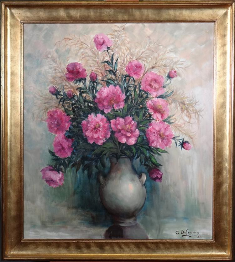 Painting oil on canvas - floral bouquet in a vase - signed DEFROYENNES Edmond