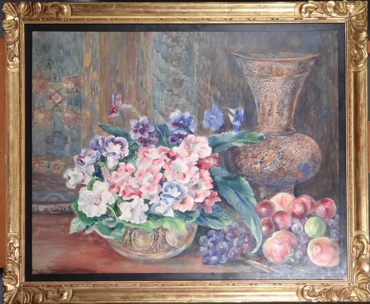 Painting: Watercolor - Still Life with Flowers and Fruit - signed DELECOSSE Marguerite