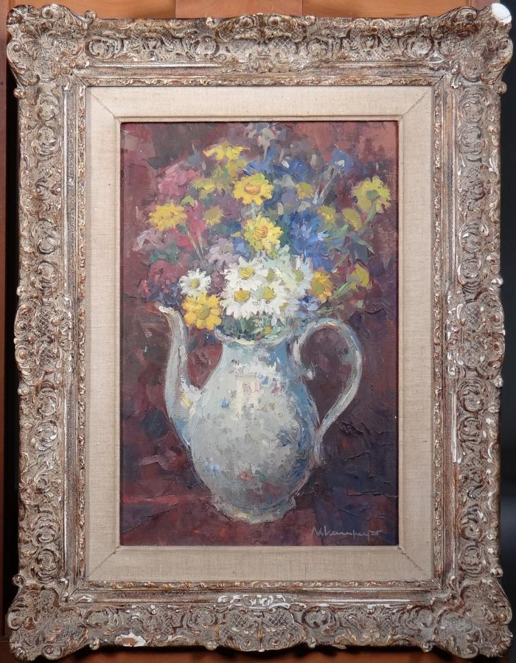 Painting oil on canvas - Flower Tea - signed Chavepeyer Albert