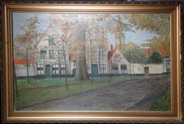 Painting oil on canvas - Beguinage Bruges - signed LAMOTE Alidor