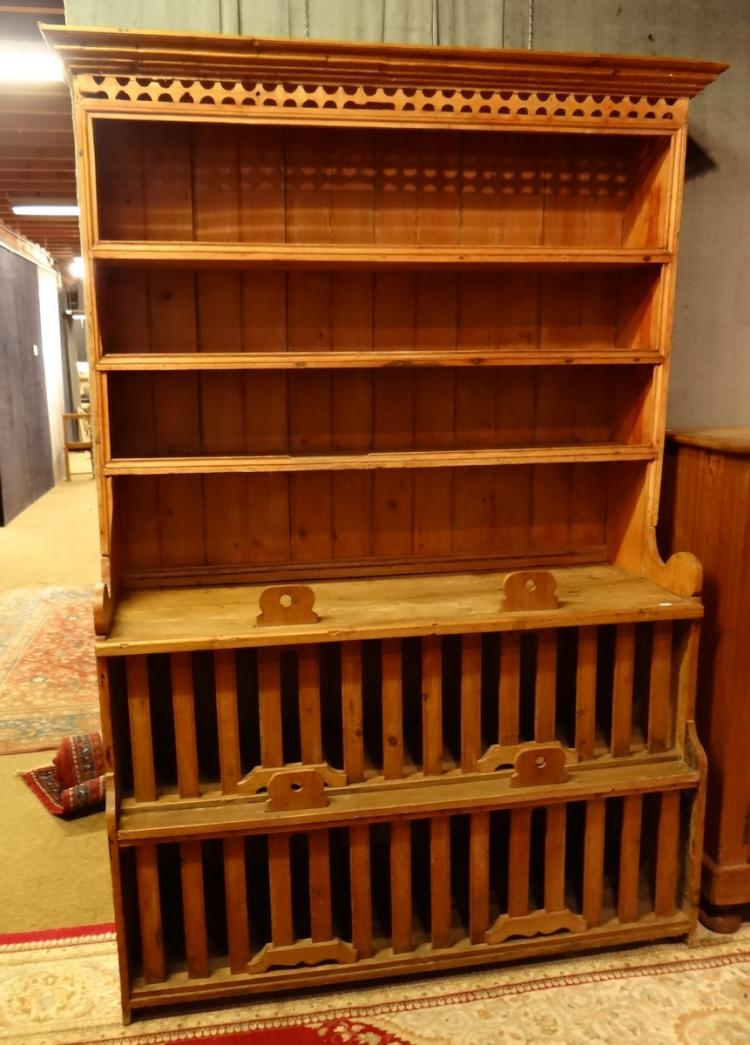 Furniture: English pine dresser / showcase 19C