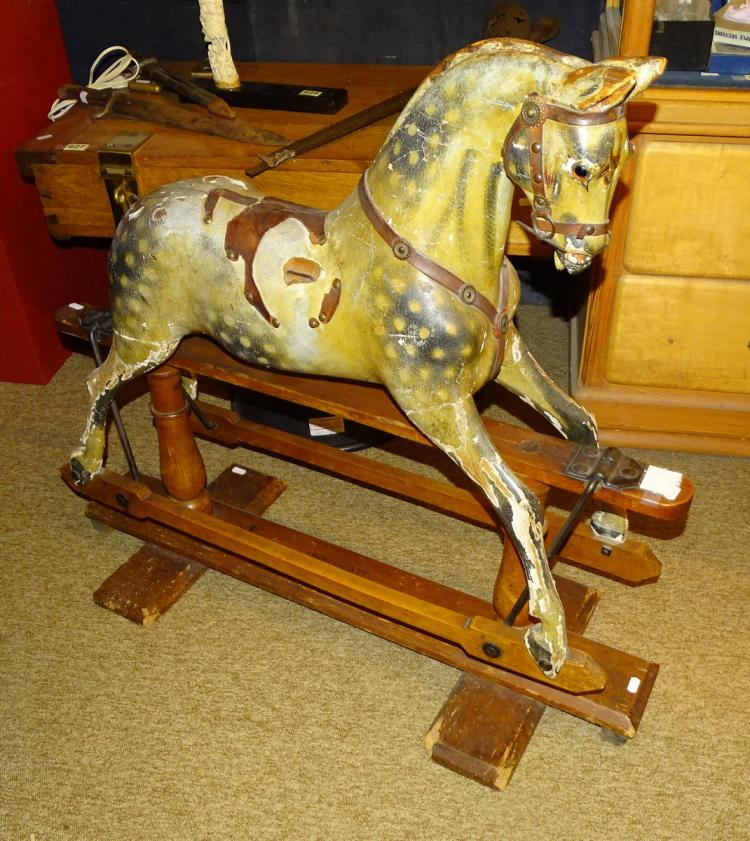 Toy: Rocking horse for children. wood end 19C