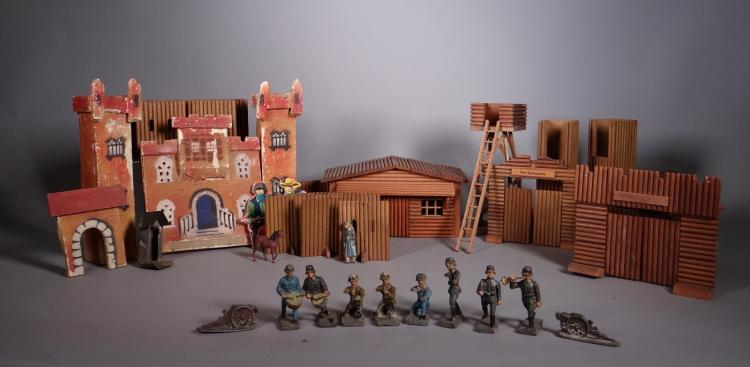 Toy: composite soldier (9) lead barrel (2) and decorative wooden western.