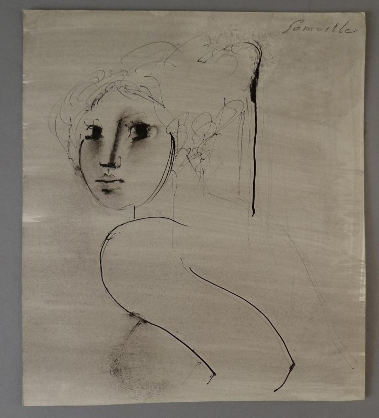 Painting Ink drawing / wash - Bust of young woman - signed SOMVILLE Roger