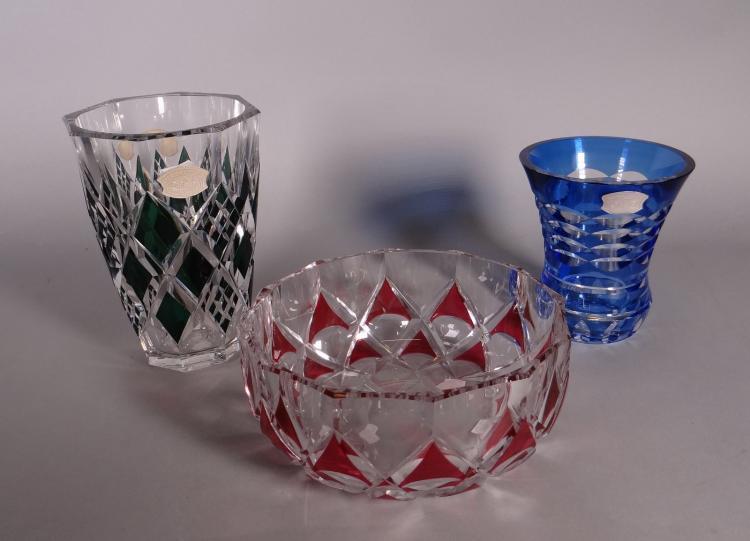 Glassware: Crystal cut Val Saint Lambert: Vase. Cup. Vase