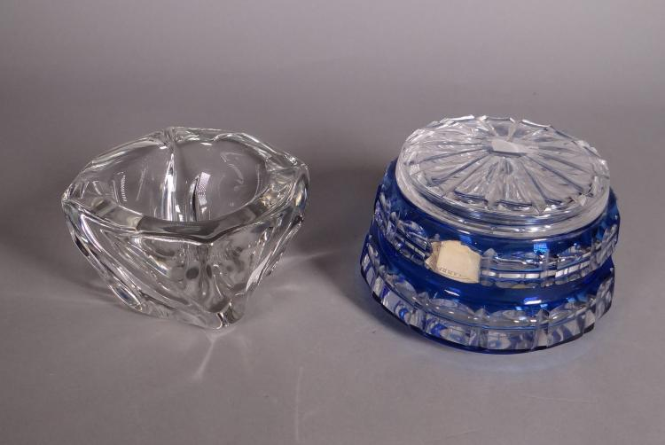 Glassware: Crystal cut Candy box Val Saint Lambert and colorless crystal Daum ashtray