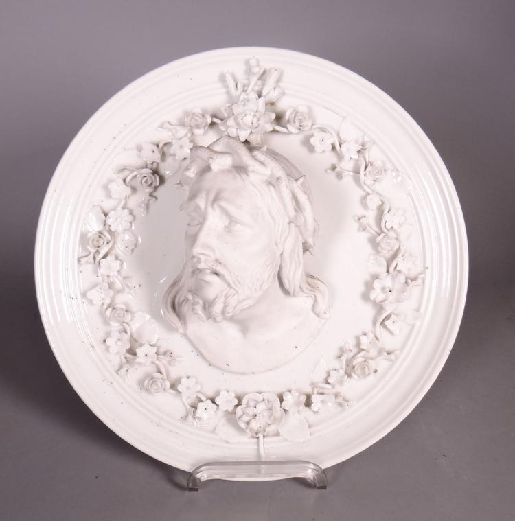 biscuit andporcelain sculpture -Tondo - Head of Christ - anonymous 19C