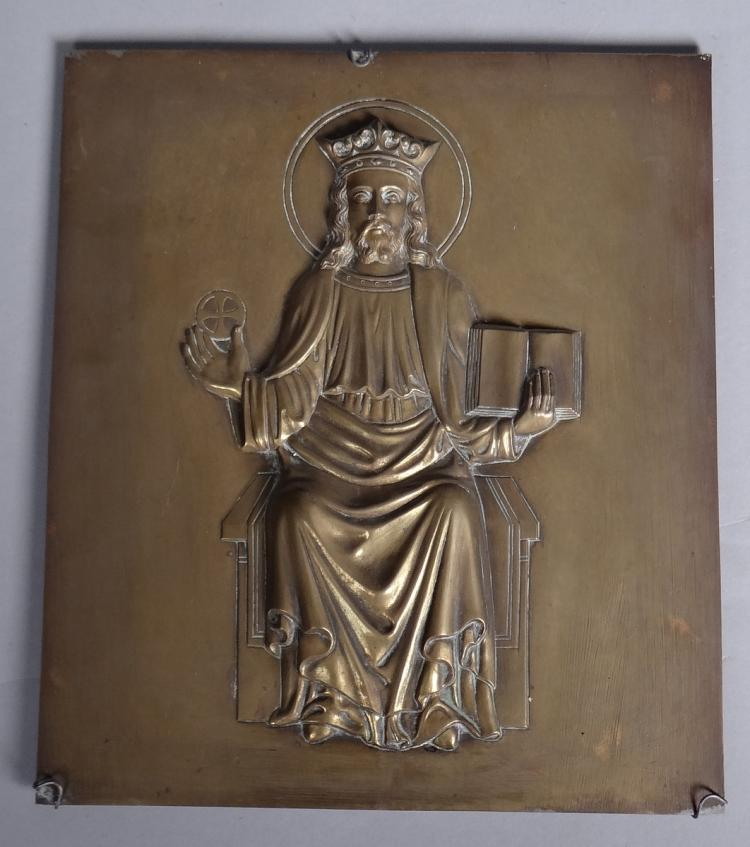 Sculpture icon in bronze - Christ Pantocrator - 19C