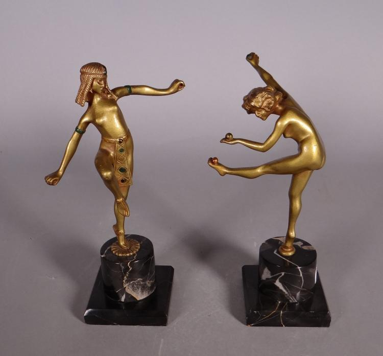 Sculpture: Art Deco Bronze gilt polychrome - the juggler - and - The dancer - 20C