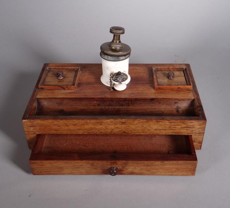 Subject: rosewood inkwell for writing desk and porcelain and bronze inkwell