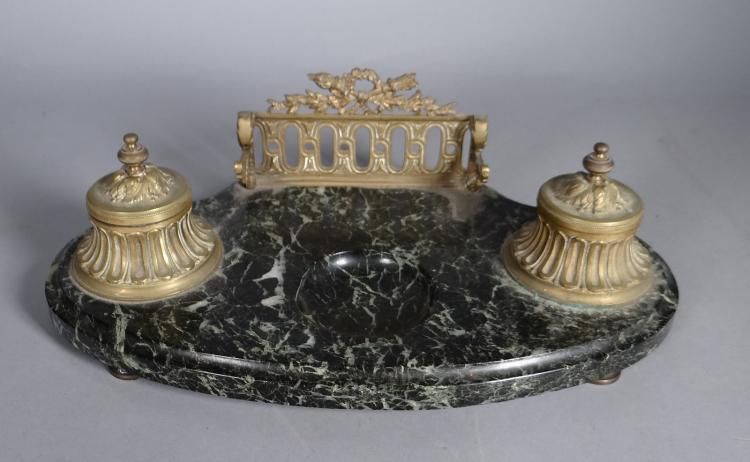 Subject: NAPIII inkwell set in gilded bronze and marble 2nd half 19C