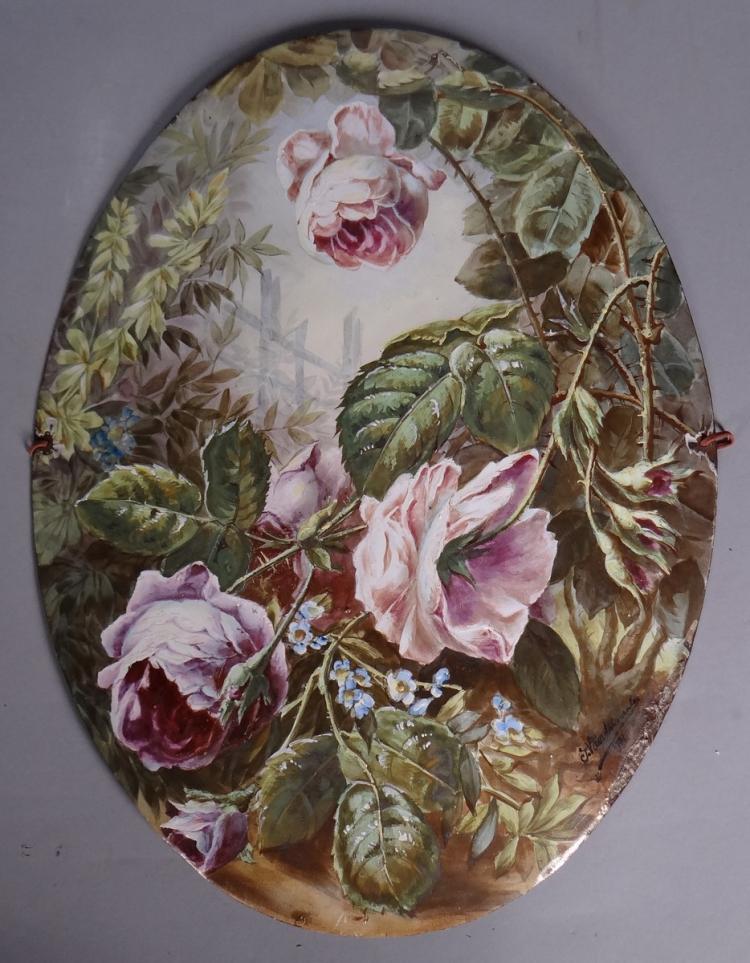 Subject: painted sheet metal plaque - Flowers - signed J. Vandelmeulen