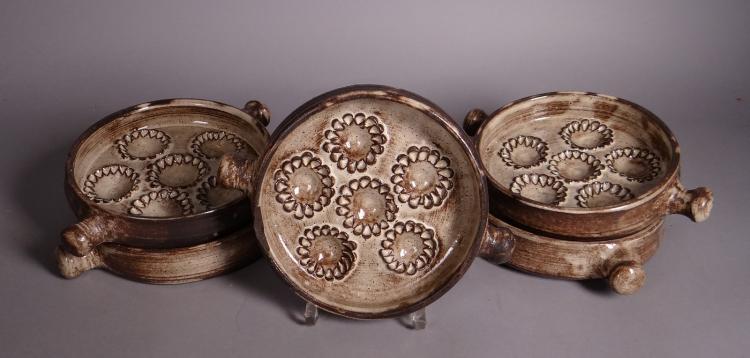 Ceramics: 5 plates snails ceramic of Dour BATAILLE Thérèse (20C)