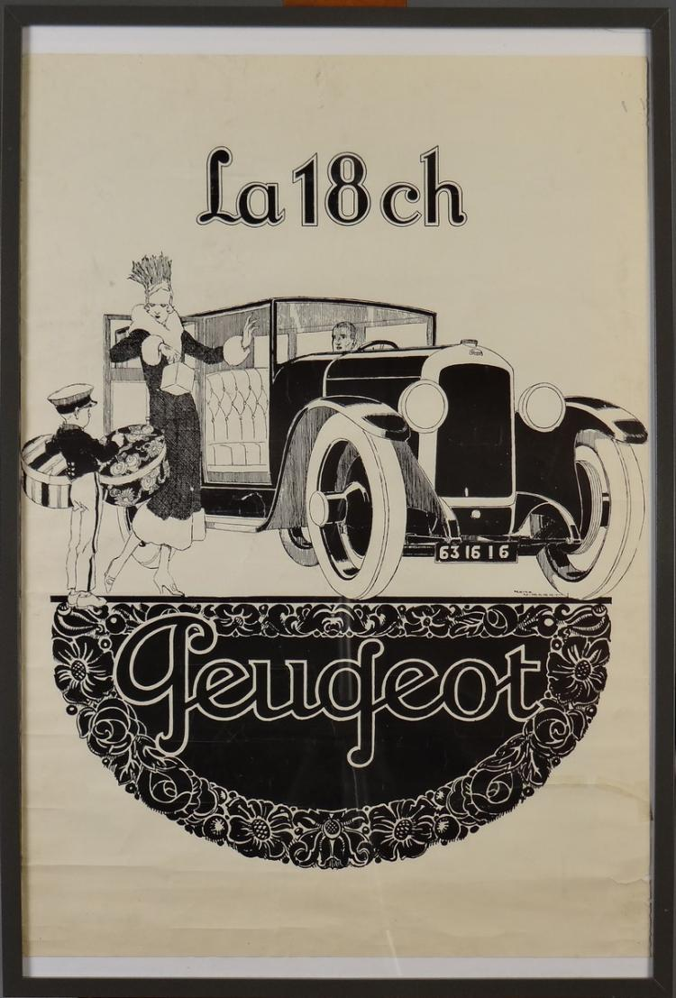 Engraving: serigraphy poster - The 18 ch Peugeot - by René VINCENT