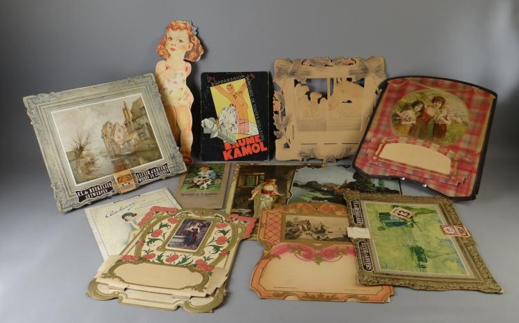 Collection cardboard advertising panel (14) with among others Elixir d'Anvers . Compagnies L'abeille . Baume Kamol etc.
