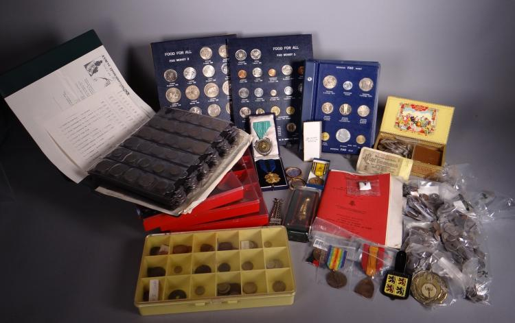 Collection coin Lot various of World. 2 medals. diploma. 10 decorations. 2 albums