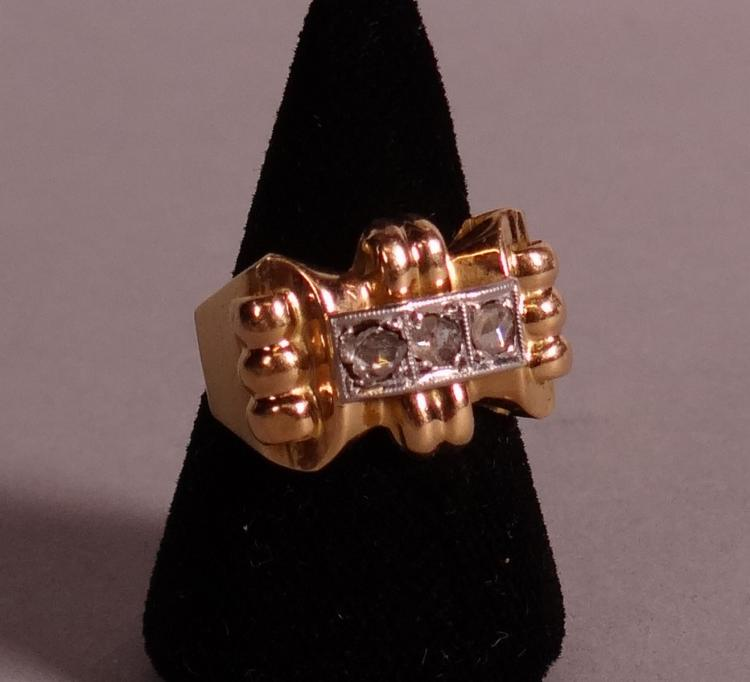 Jewelry Art Deco Ring in 18K yellow gold 3 diamonds